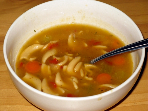 Traders Joe's Chicken and Mafalde Pasta Soup, Low Sodium, Thumbs Down